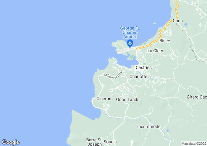 Map for Coubaril, St Lucia