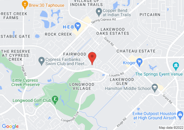Map of 14500 Longwood Bend, Cypress, TX, USA