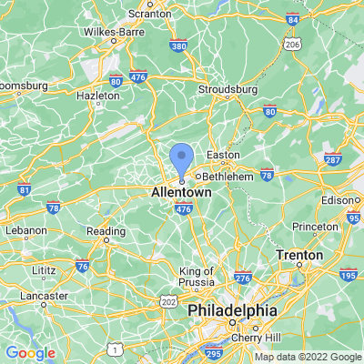 Map of truck driving jobs in Allentown, Pennsylvania