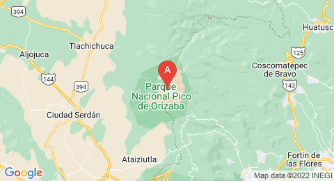 map of Pico de Orizaba (Mexico)