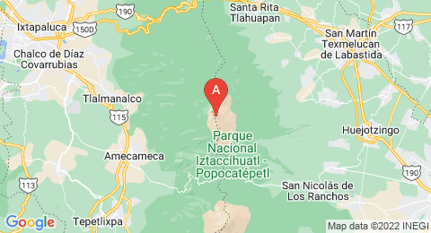 map of Iztaccihuatl (Mexico)