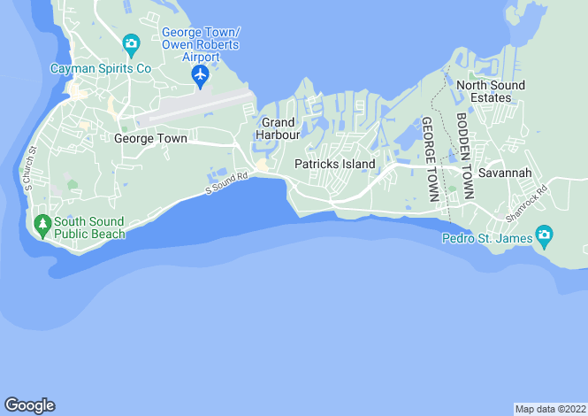 Map for Sugar Reef, South Sound, Cayman Islands