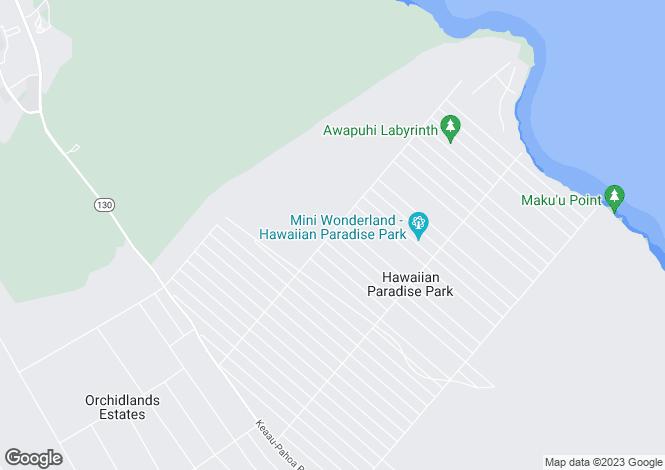 Map for Hawaii, Hawaii County, Kea`au