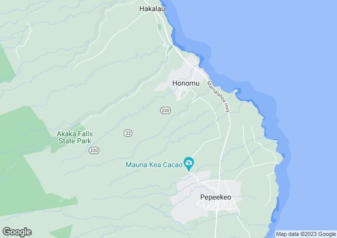 Map for Hawaii, Hawaii County, Honomu