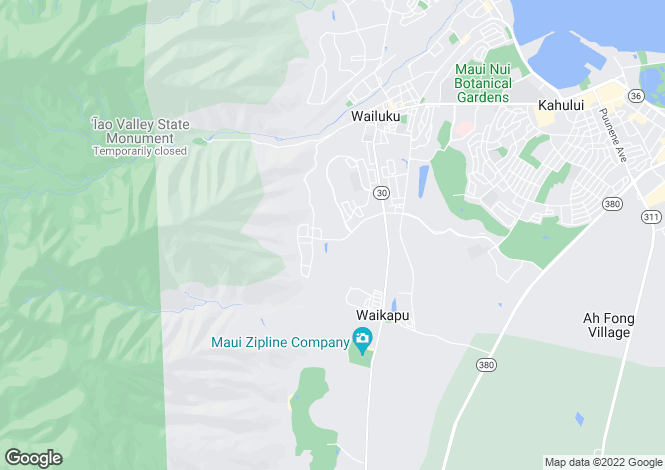 Map for USA - Hawaii, Maui County, Wailuku