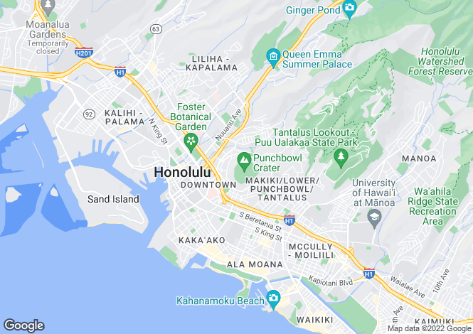 Map for USA - Hawaii, Honolulu County, Honolulu