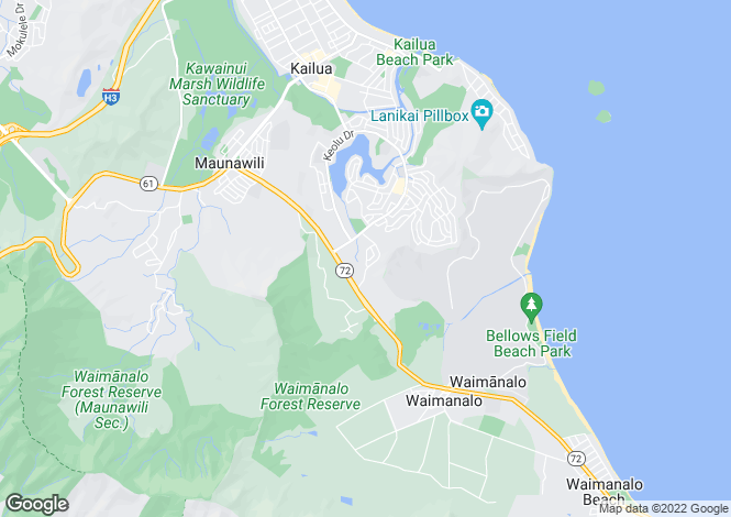 Map for USA - Hawaii, Honolulu County, Kailua