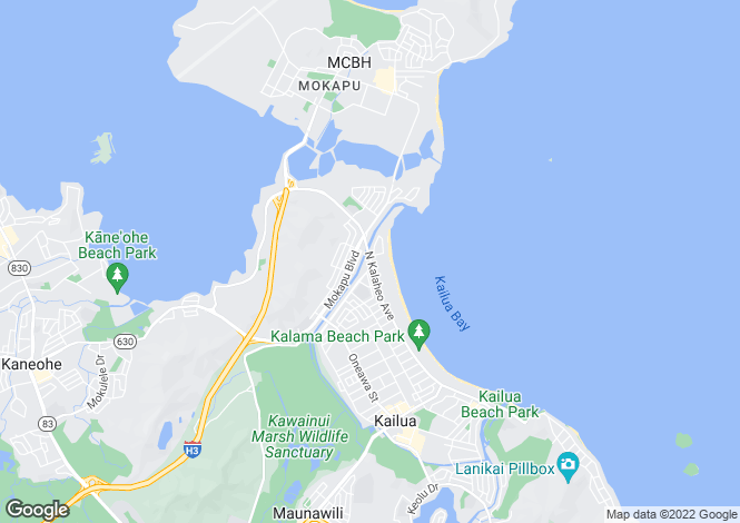 Map for USA - Hawaii, Honolulu County, Kailua