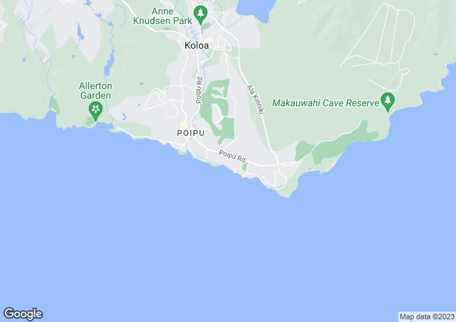 Map for Hawaii, Kauai County, Koloa