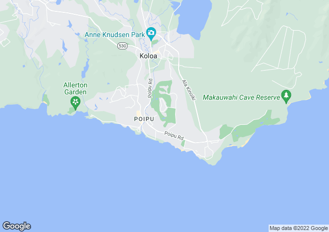 Map for Hawaii, Kauai County, Koloa
