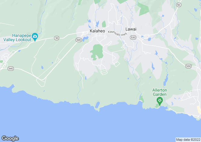 Map for Hawaii, Kauai County, Kalaheo