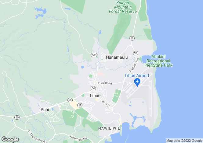Map for Hawaii, Kauai County, Lihu`e