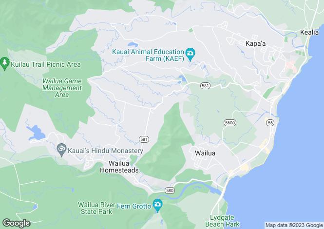 Map for Hawaii, Kauai County, Kapa`a