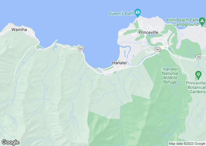 Map for Hawaii, Kauai County, Hanalei