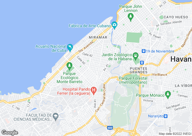 Map for Havana, Playa