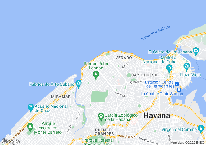 Map for Vedado, Havana