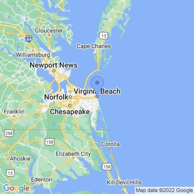 Map of truck driving jobs in Virginia Beach, Virginia