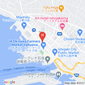 ゲストハウスちゅらククル石垣島・1F/スカイククル石垣島・8F/グランヴィラククル石垣島の地図