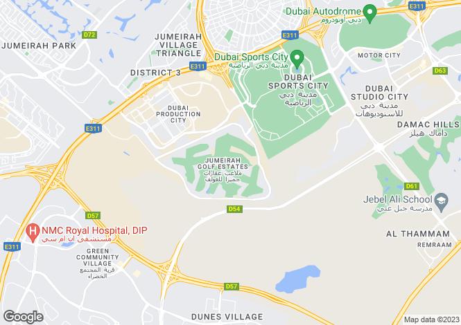 Map for Redwood Avenue, Jumeirah Golf Estates, Dubai