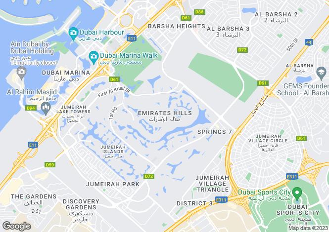 Map for Sector E, Emirates Hills, Dubai