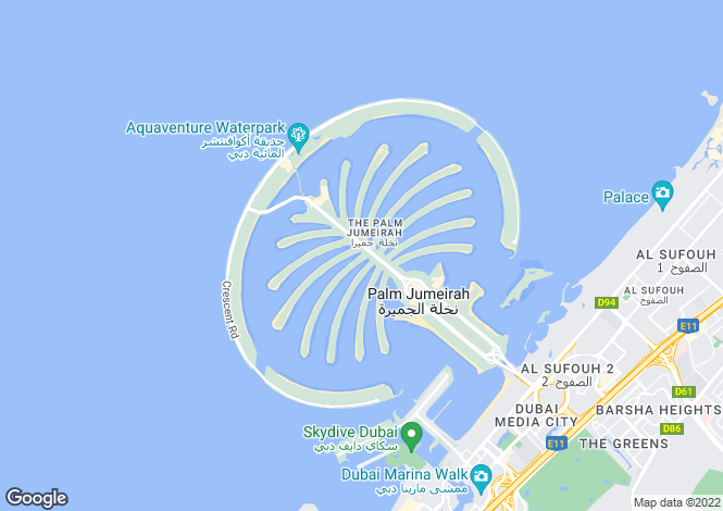 Map for Palm Jumeirah, Taj Grandeur, Dubai