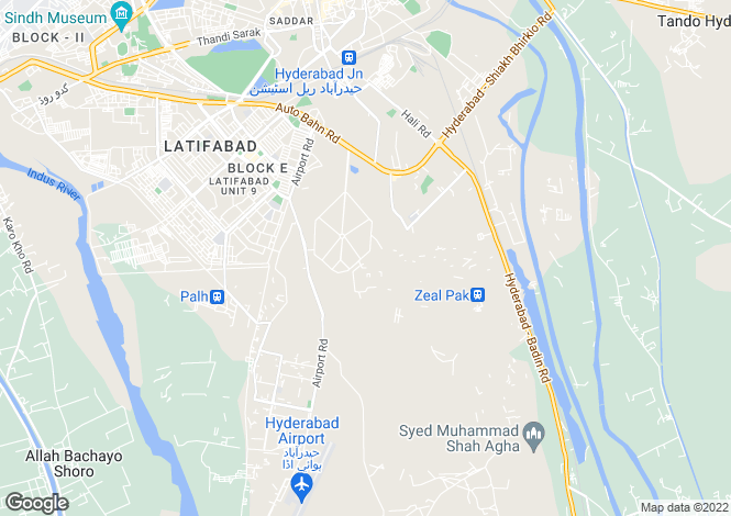 Map for Hyderabad, Sindh