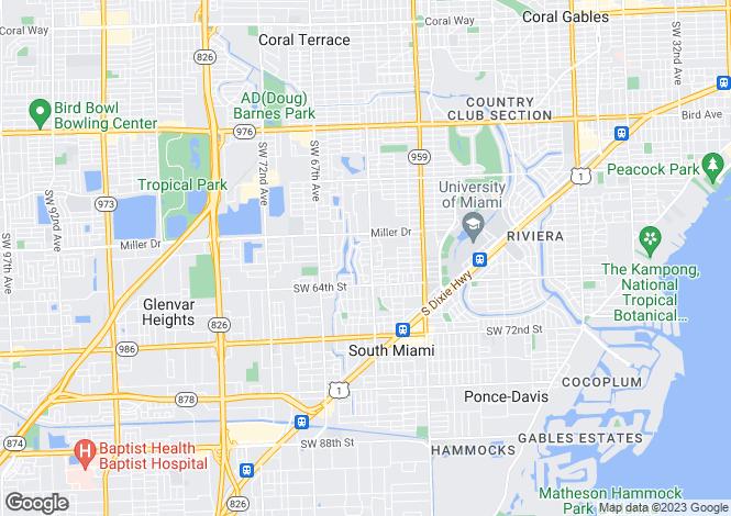 Map for USA - Florida, Miami-Dade County, South Miami