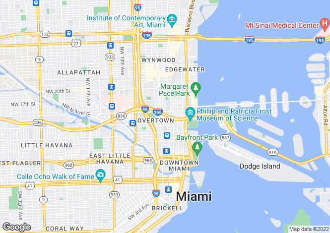 Map for South Beach, Miami, USA