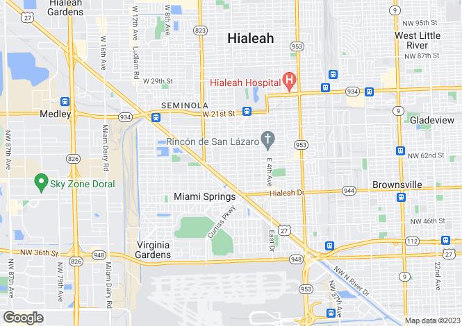 Map for USA - Florida, Miami-Dade County, Hialeah