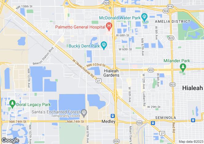 Map for USA - Florida, Miami-Dade County, Hialeah Gardens
