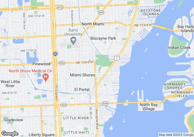 Map for USA - Florida, Miami-Dade County, Miami Shores