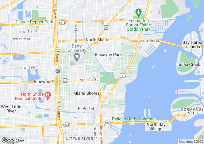 Map for USA - Florida, Miami-Dade County, Miami Shores