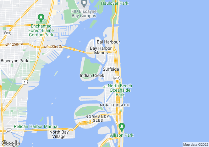 Map for USA - Florida, Miami-Dade County, Surfside