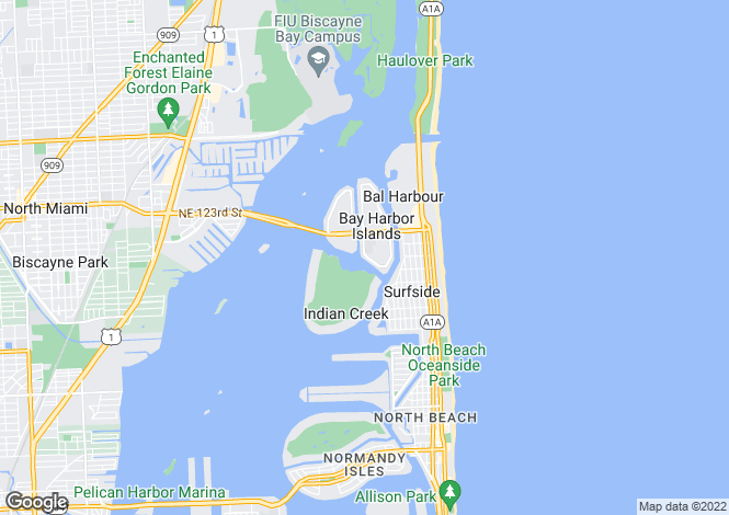 Map for USA - Florida, Miami-Dade County, Bay Harbor Islands