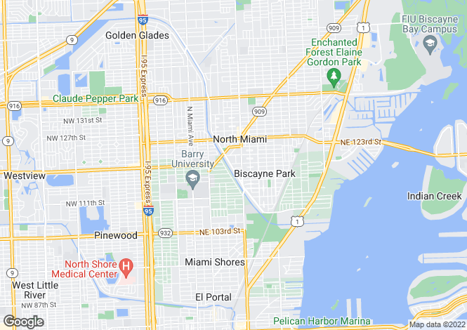 Map for USA - Florida, Miami-Dade County, Biscayne Park