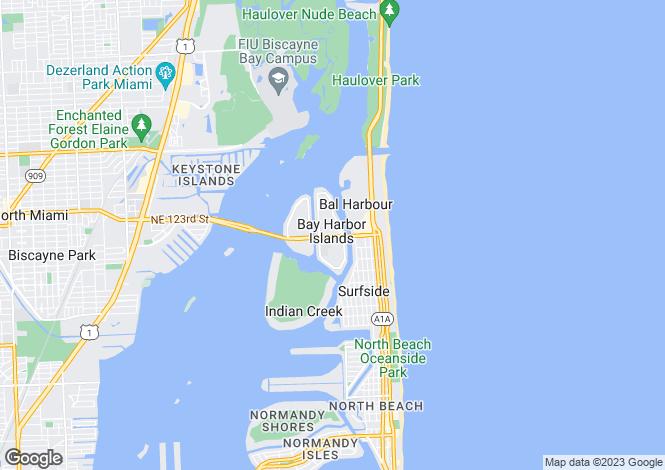 Map for Bay Harbor Islands, Miami-Dade County, Florida