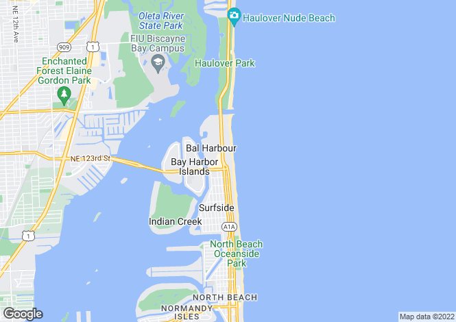 Map for USA - Florida, Miami-Dade County, Bal Harbour