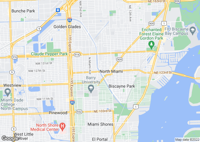 Map for USA - Florida, Miami-Dade County, North Miami