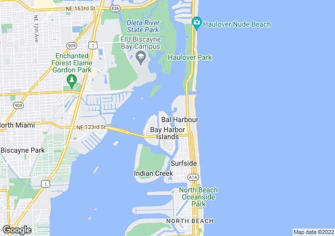 Map for USA - Florida, Miami-Dade County, Bay Harbor Islands