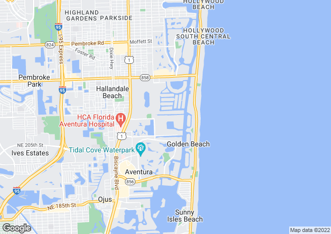Map for Hallandale, Broward County, Florida