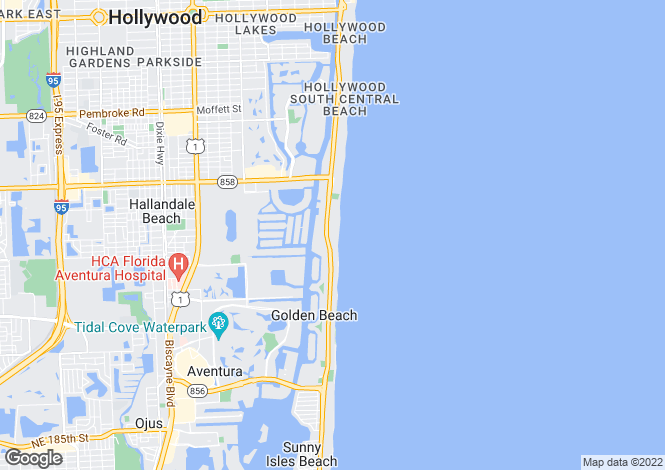 Map for USA - Florida, Broward County, Hallandale