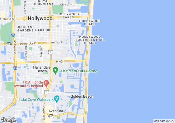 Map for USA - Florida, Broward County, Hallandale
