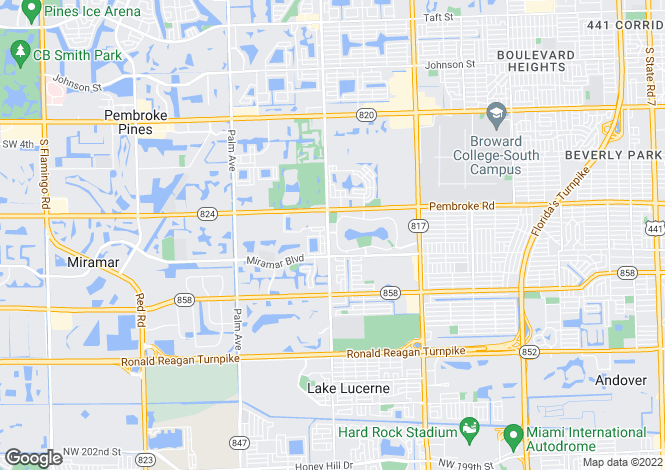 Map for USA - Florida, Broward County, Miramar