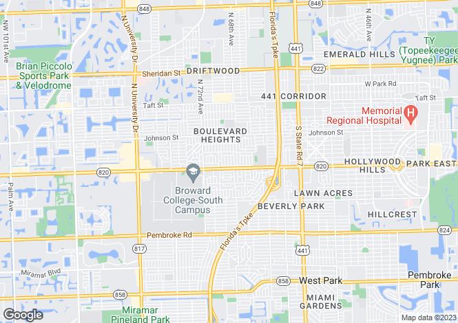 Map for USA - Florida, Broward County, Hollywood