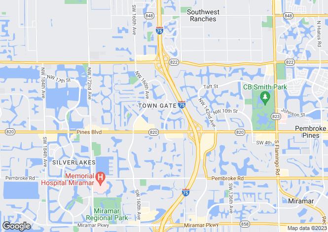 Map for USA - Florida, Broward County, Pembroke Pines