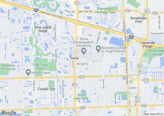 Map for USA - Florida, Broward County, Davie