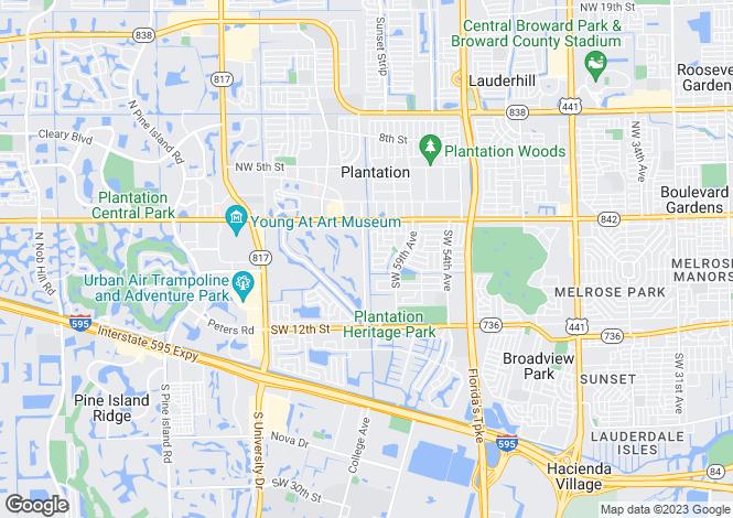 Map for USA - Florida, Broward County, Plantation