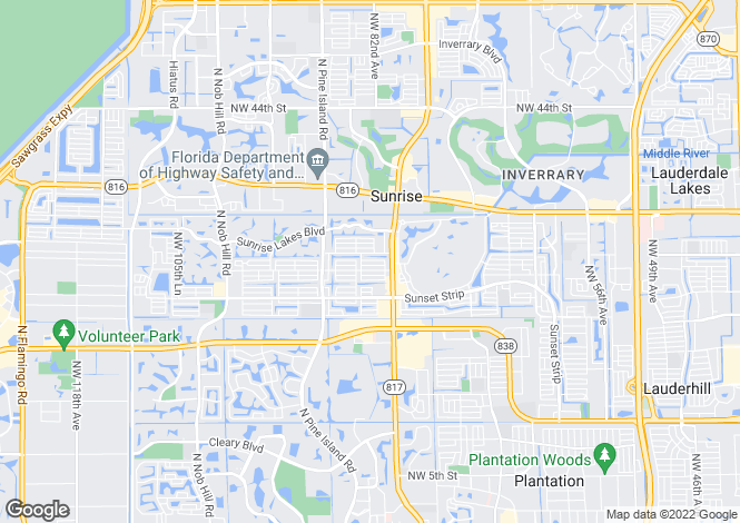 Map for USA - Florida, Broward County, Sunrise
