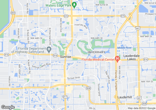 Map for USA - Florida, Broward County, Lauderhill