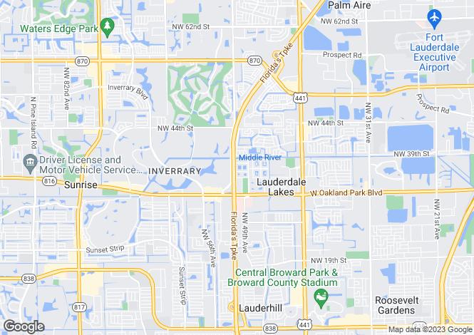 Map for USA - Florida, Broward County, Lauderdale Lakes